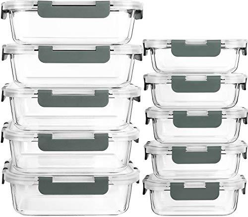 MCIRCO Recipient en Verre,Boîtes Alimentaires en Verre Lot de 10 1040ML+370 ML, Anti-Odeur, Sans BPA, pour four, micro-ondes, lave-vaisselle, congélateurt,sans BPA
