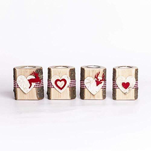 Woods Teelichthalter Set aus Holz mit Glaseinsatz und Filzmotiv I handgefertigt in Bayern I rustikale Tisch-Deko Weihnachtsdeko I Holz-Deko Windlicht I Teelicht Kerzenhalter 10 cm I 4 Stück