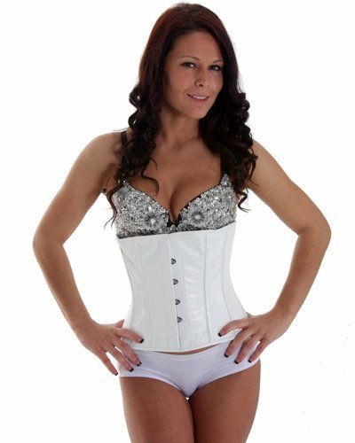 Big Sale SC80011G White Leather Victorian Vintage Shaper Corset Boned Lace Up Underbust corset girdle training (44)