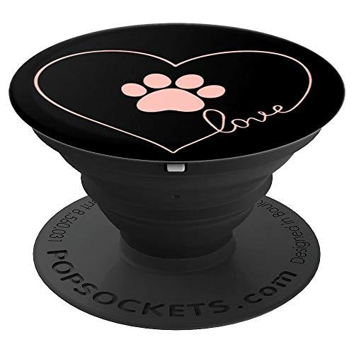 Liebe, H&, Katz, Pfote, Rose Rosa , Schwarz - PopSockets Ausziehbarer Sockel & Handgriff für Smartphones & Tablets