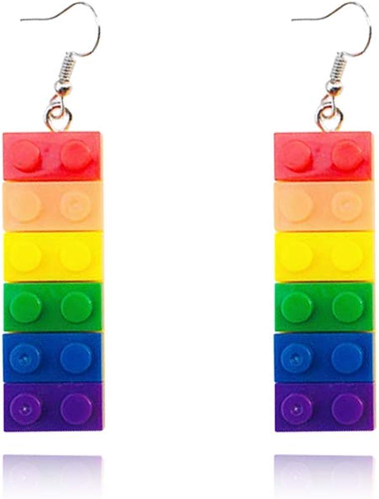 Childlike Acrylic rainbow building blocks clip on earrings women novelty toy earrings girls