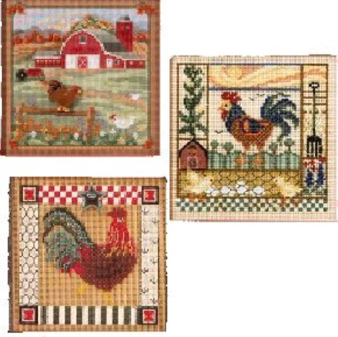 3 Item Bundle-Buttons and Beads Counted Cross Stitch: Country Morning, Barnyard Morning & Folk Art Rooster