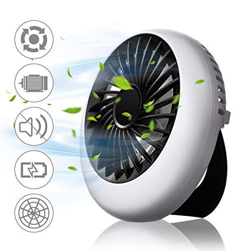 NASUM USB Ventilator, mini Tischventilator 1200 mAh, leise Lüfter Handventilator, 3 Geschwindigkeiten aufladbarer Batterie, für Büro, Schule, Indoor und Outdoor - Schwarz