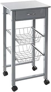 Blanc 33x36x102 Haku Table roulante en m/étal et PVC Acier