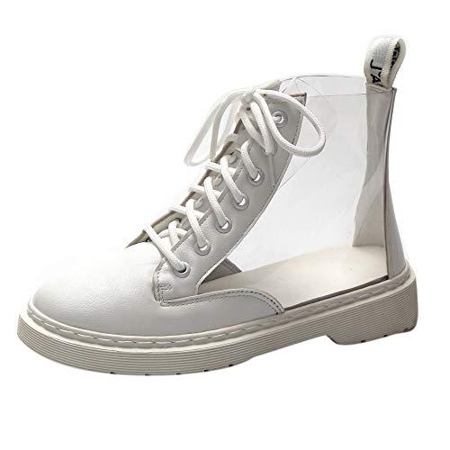 FNKDOR Schuhe Damen Regenstiefel Wasserdicht rutschfest Chelsea Booties Durchsichtig Schnürung Plattform Stiefeletten Weiß 39 EU