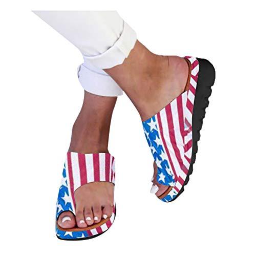 HROIJSL damen hausschuhe Frauen Open Toe Flache Pantoffeln Anti Rutsch Dusche Badeschuhe Hallux Valgus Unterstützung Plattform Sandale Schuhe Für Bunion Correct Modern Sommer Freizeit (1Blue, 36)