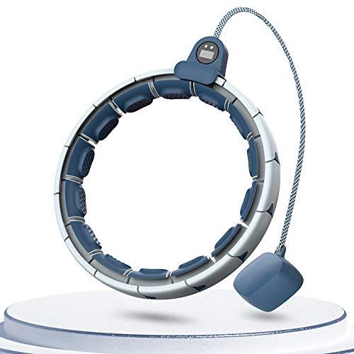 FUUMIY® Fitness Reifen mit Zähler, Smart Sportgeräte mit Abnehmbarer 16 Segmente Artikulierte Reifen,Fällt Nicht,120cm Umfang und Einstellbar.Fitness zubehãr für Gewichtsverlus-Blau
