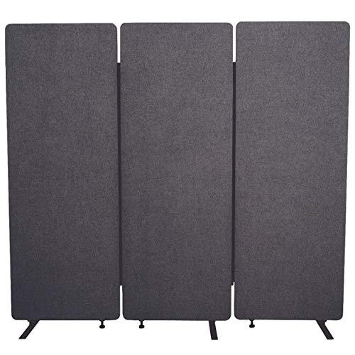 Luxor RCLM-RD3P-SG Akustik Raumteiler, Büro Trennwand, Sichtschutz, Schallschutz, Stellwand, schallabsorbierend, 3er Pack, Schiefergrau, 168 x 183 x 3 cm (H x B x T)