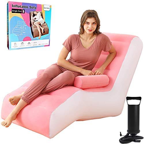 Aufblasbare Liege, zusammenklappbar, Liegestuhl, Sofa, Liege, Bett mit Armlehnen, manuelle Luftpumpe (Pink)