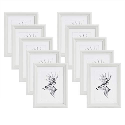 WOLTU 10er Set Bilderrahmen,10x15cm Artos Stil Holzrahmen Fotogalerie Glasscheibe,Weiß