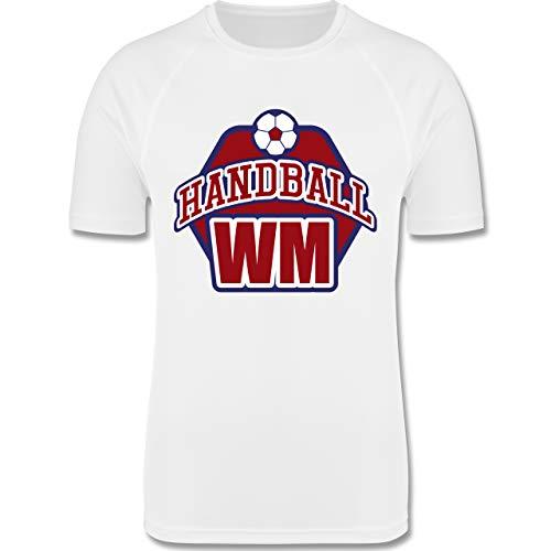 Sport Kind - Handball WM 2021-128 (7/8 Jahre) - Weiß - Handball wm 2019 - F350K - atmungsaktives Laufshirt/Funktionsshirt für Mädchen und Jungen
