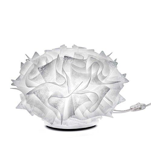Veli Couture Kunststoff Nachttischleuchte Kleine Tischleuchte Slamp in Weiß Decor weiß | Handgefertigt in Italien | Tischlampe Modern Dimmbar | Lampe E14