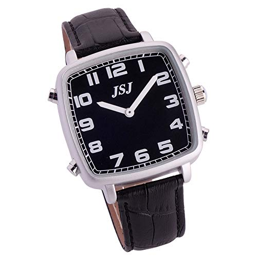 Reloj Parlante en Español, Reloj de Pulsera Cuadrado,Esfera Negro, Negro Correa de Cuero TSSB-1813S