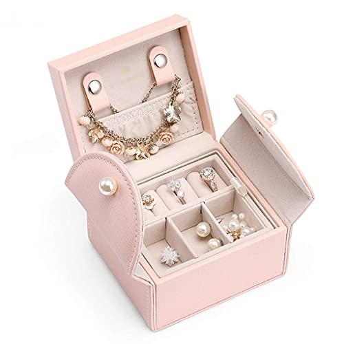 JILIGALA Mini Caja de joyería Doble Capa de Viaje Joyería Organizador Cajas de Almacenamiento de Joyas para Collar, Pendientes, Anillos, Pulsera (Blanco, Rosa) (Color: Blanco)