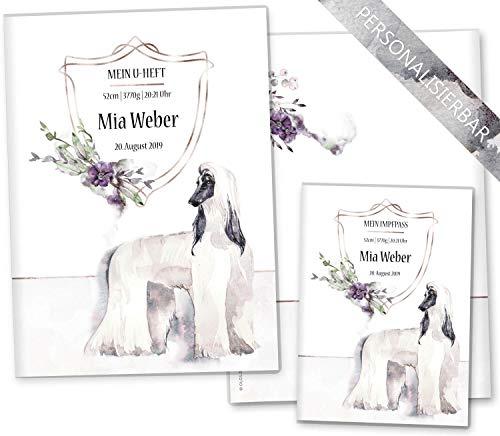 U-Heft Hüllen Set Cosmo Hunde Untersuchungsheft Hülle & Impfpasshülle schöne Geschenkidee personalisierbar mit Namen und Geburtsdatum (U-Heft Hüllen Set personalisiert, Angel)