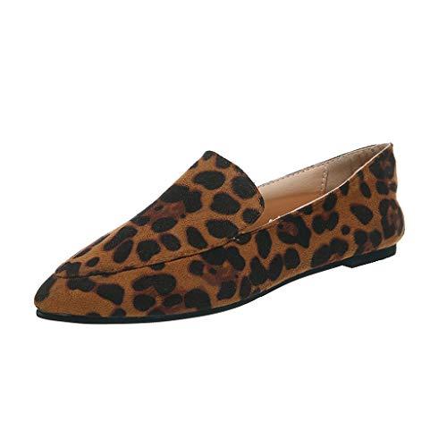 Mokassins Damen Flache Loafer mit Leopardenmuster Schlangenmuster Zebramuster, Frauen Elegante Slipper Casual Slip-Ons Schöner Damenschuhe Celucke (Gelb, 42 EU)