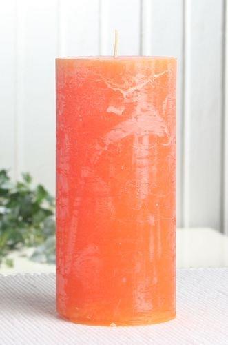 Rustik-Stumpenkerze, 15 x 7 cm Ø, mandarin-orange