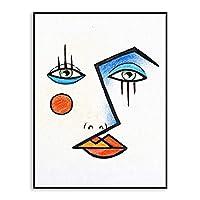 """モダンアブストラクトカラーフェイスラインポスタープリントウォールアート写真北欧スタイルのリビングルームのキャンバス絵画-50x70cm / 19.7 """"x27.6""""フレームなし"""