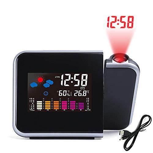WLHZNB projektion väckarklocka digital LED-display inomhus temperatur väderstation USB-laddning tyst projektion snooze väckarklocka för hem