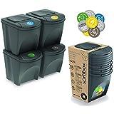 Prosperplast Juego de 4 cubos de reciclaje 100L Sortibox de plastico en color...