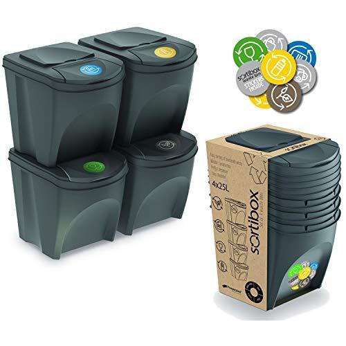 Sortibox Prosperplast 4 x 20 L Abfalltrennsystem Abfalleimer grau grau