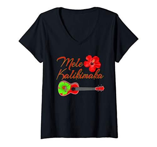 Womens Mele Kalikimaka Hawaiian Ukulele V-Neck T-Shirt