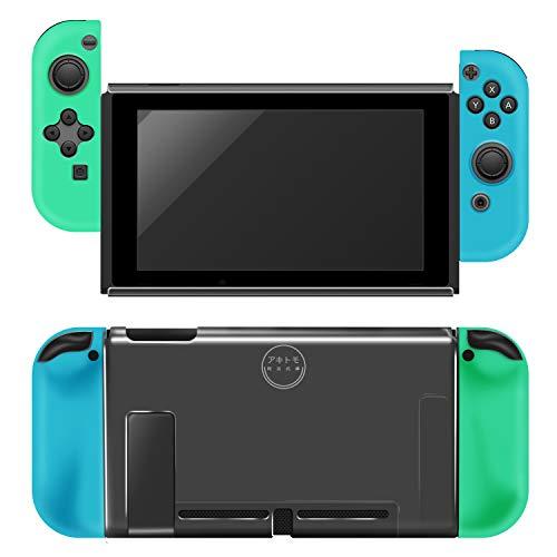 【Nintendo Switch 専用カバーセット▪あつまれ どうぶつの森限定版】ニンテンドースイッチ カバー ドック対応 TPUカバー 分体式カバー Nintendo Switchケース 透明 超薄型 全面保護(柔らかいシリコン+PC素材を採用、衝撃吸収、擦り傷防止、落下保護、指紋付け防止、着脱簡単)
