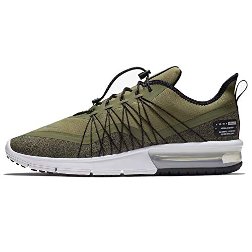 Nike AIR MAX Sequent 4 Utility Men's Running Shoes (7, Olive/Metallic Silver/Black/White)