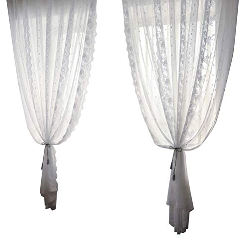 Semi Sheer Curtains for Bedroom Embroidery Lace Sheer Curtain White Curtain Semi-Transparent Curtain Voile Panels Home Decorations Tulle Curtain Semi Voile Drapes Panels for Living Room Balcony 1pcs