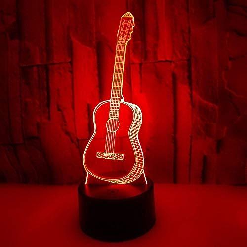 Hogreat Lámpara de Mesa Guitarra LED Colorido Degradado 3D lámpara de Mesa Tridimensional táctil Control Remoto USB luz de Noche Escritorio Junto a la Cama decoración Creativa Adornos de Regalo