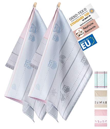 ZWOLTEX Hochwertige Geschirrtücher aus 100% Ägyptischer Baumwolle I Made IN EU I Oeko-TEX 100 I Jacquard Küchentücher - 2X Geschirrhandtücher mit Motiv Eule Blau-Grau