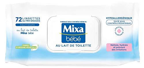 Mixa Bébé Lingettes au Lait de Toilette, Fibres Végétales, Hypoallergénique 72 Lingettes