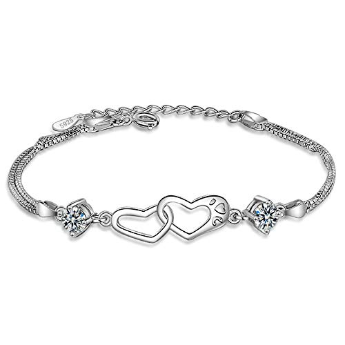 YINGLAN Girls' Bracelets, Heart Ornaments, High-End Heart-Shaped Zircon Bracelets, Women's Hand Jewelry Can Be Adjusted