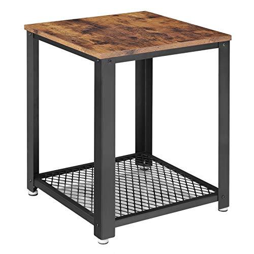 VASAGLE Beistelltisch, Nachttisch im Industrie-Design, Sofatisch mit Gitterablage, stabil, mit Metallgestell, Wohnzimmer, Schlafzimmer, einfach zu montieren, Used Look, Holzoptik Vintage LET41X