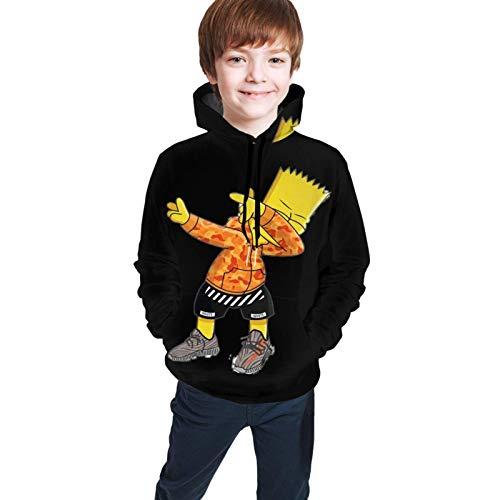 Kapuzenpullover, Jugend Kinder Hoodie Sweatshirt Langarm Hooded Anime Naughty Bart Simpsons Pullover Neuheit Grafik für Teen Boys Girl Kids Black