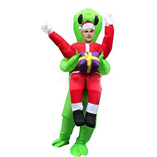 ODIMAI Disfraz Inflable Extraterrestre Disfraces Disfraces de Carnaval de Halloween Adulto (Extraterrestre Verde,Santa Claus),2,Adult