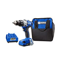 Kobalt 24-volt max 1/2-in cordless drill/driver comes with a 24-volt max 2.0Ah Li-ion battery, charger, belt clip, double-ended driver bit, bit holder, auxiliary handle and soft bag