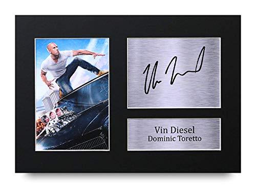 HWC Trading Vin Diesel A4 Sin Marco Regalo De Visualizacion De Fotos De Impresion De Imagen Impresa Autografo Firmado por Dominic Toretto Fast & Furious Los Aficionados Al Cine