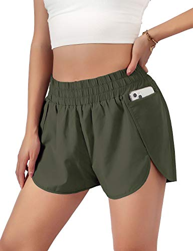 Blooming Jelly Womens Quick-Dry Running Shorts Sport Layer Elastic Waist Active Workout Shorts with Pockets 1.75' (Medium, Army Green)