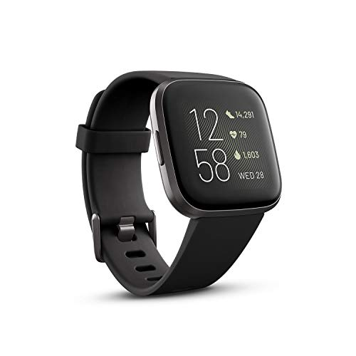 Fitbit Versa 2 Health & Fitness Smartwatch with Heart Rate, Music, Alexa Built-in, Sleep & Swim Tracking-Black/Carbon