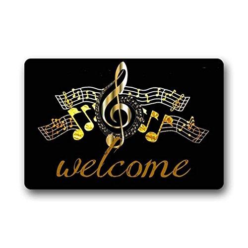 Shinewe Paillasson personnalisé pour entrée, tapis de sol motif note de musique pour intérieur/extérieur, salon, cuisine, décoration d
