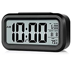 Digital Alarm Clock Battery Operated Easy Read Large Digital Number LCD Clock with Backlight, Date, Temperature, Snooze Function Alarm Clock for Bedroom, Office, Beside Desk (Black-New)