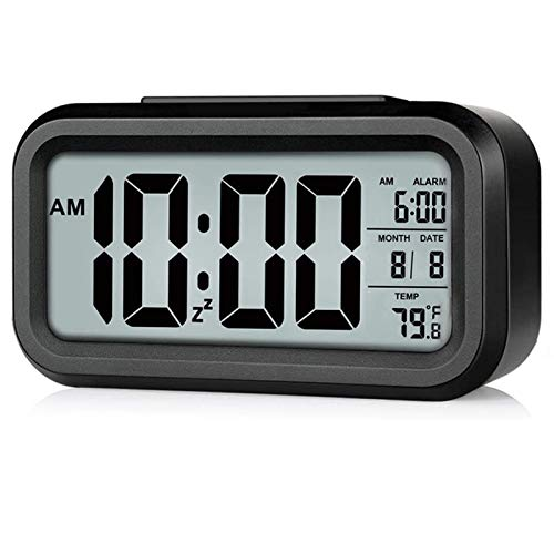 Digital Alarm Clock, Rscolila Easy Read Clock with Date, Temperature, Backlight, Snooze Mini Desk Clock for Kids, Multifunctional Alarm Clock for Bedroom