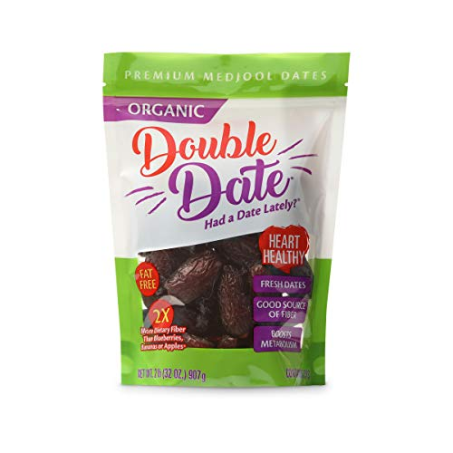Double Date Organic Dates Medjool, 2lb Pouch Bag Dates Organic, Fresh and Flavorful, Grown and Packed in Coachella California, Resealable and Recyclable Bag, Had a Date Lately?
