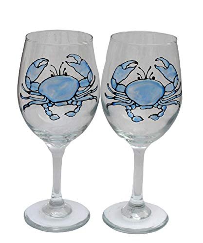 Blue Crab Hand Painted Stained Glass Stemmed Wine Glasses Set of 2
