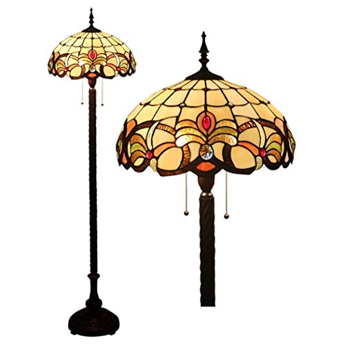 Tiffany Style Baroque Floor Light 16 Inch Stained Glass Shade Floor Lamps Zipper Switch Decoration Reading Lamps for Living Room Bedroom Office