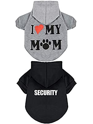2 Pieces Pet Clothes Puppy Hoodie Sweater Dog Pullover Sweater I Love My Mom Dog Sweatshirt Warm Sweater (S, Black and Grey)