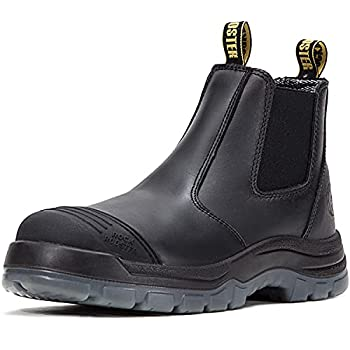ROCKROOSTER Work Boots for Men 6 inch Steel Toe Slip On Safety Oiled Leather Shoes Static Dissipative Breathable Quick Dry AK227 Black US 10