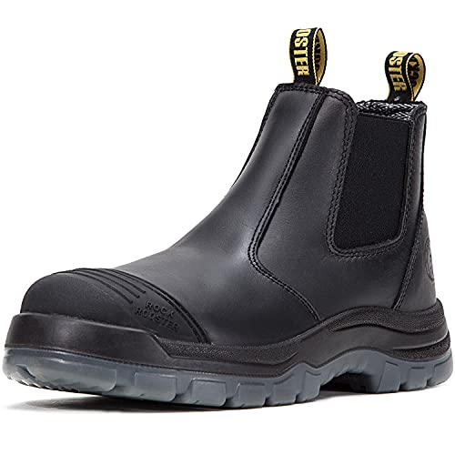 ROCKROOSTER Work Boots for Men, 6 inch Steel Toe, Slip On Safety Oiled Leather Shoes, Static Dissipative, Breathable, Quick Dry(AK227 Black, US 9.5)