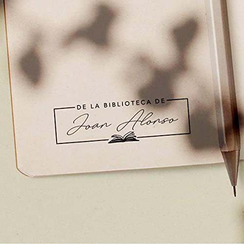 Sello Ex Libris Personalizado de Madera para Libros, 4 Diseños Disponibles, Sello Biblioteca